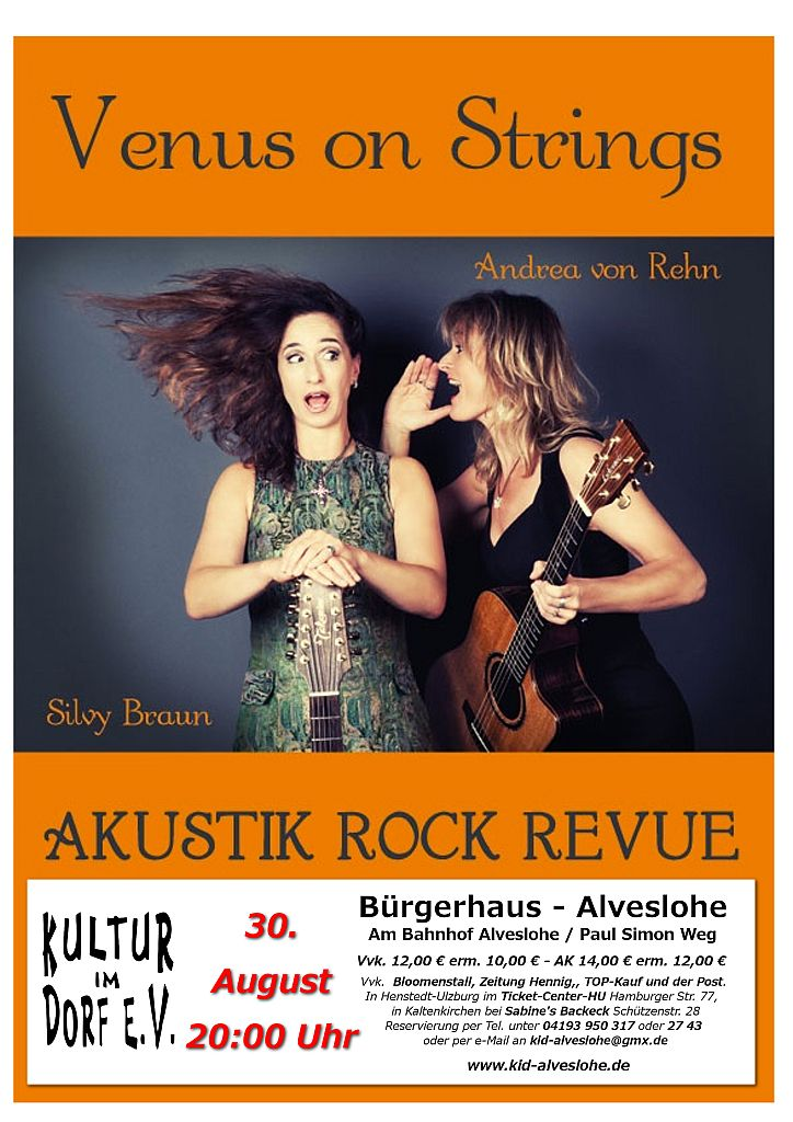 Venus on Strings Akustik Rock Revue am 30. August 2014 um 20.00 Uhr im Bürgerhaus Alveslohe